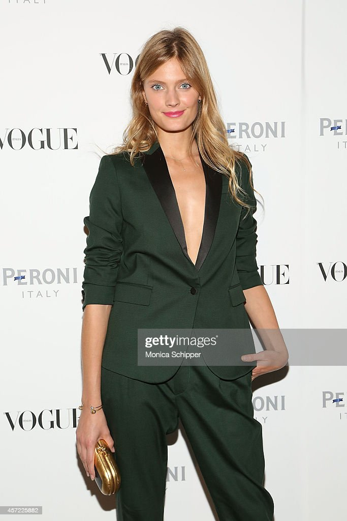 Model Constance Jablonski attends the Vogue Italia Opening Night Exhibition at Industria Studios on October 14, 2014 in New York City.