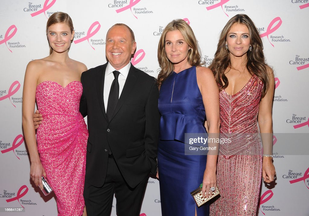 Model Constance Jablonski, designer Michael Kors, Aerin Lauder and actress Elizabeth Hurley attend The Breast Cancer Research Foundation's 2013 Hot Pink Party at The Waldorf=Astoria on April 17, 2013 in New York City.
