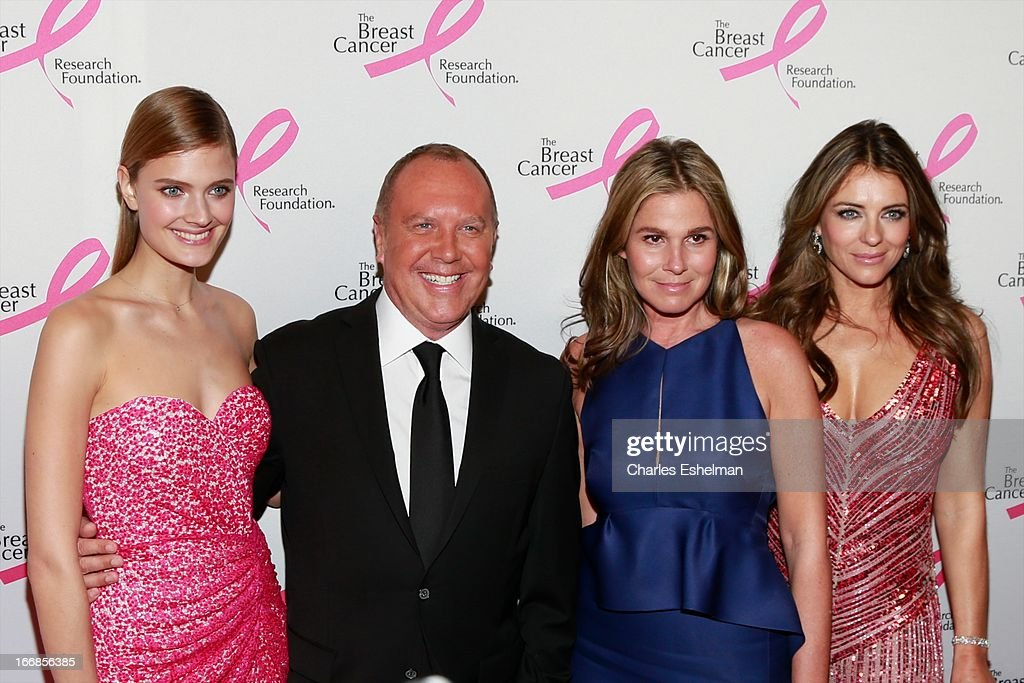Model Constance Jablonski, designer Michael Kors, Aerin Lauder and Elizabeth Hurley attend The Breast Cancer Research Foundation's 2013 Hot Pink Party at The Waldorf=Astoria on April 17, 2013 in New York City.