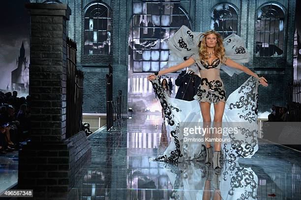 Model Constance Jablonski from France walks the runway during the 2015 Victoria's Secret Fashion Show at Lexington Avenue Armory on November 10 2015...