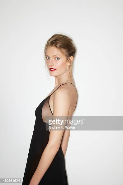 Model Constance Jablonski poses for a portrait at the 2015 amfAR Inspiration Gala New York at Spring Studios on June 16 2015 in New York City