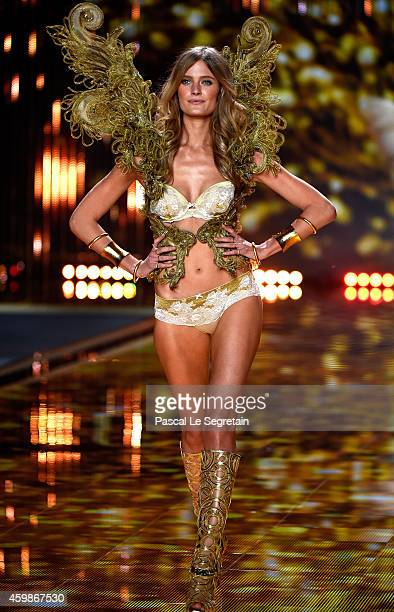 Model Constance Jablonski walks the runway at the annual Victoria's Secret fashion show at Earls Court on December 2 2014 in London England