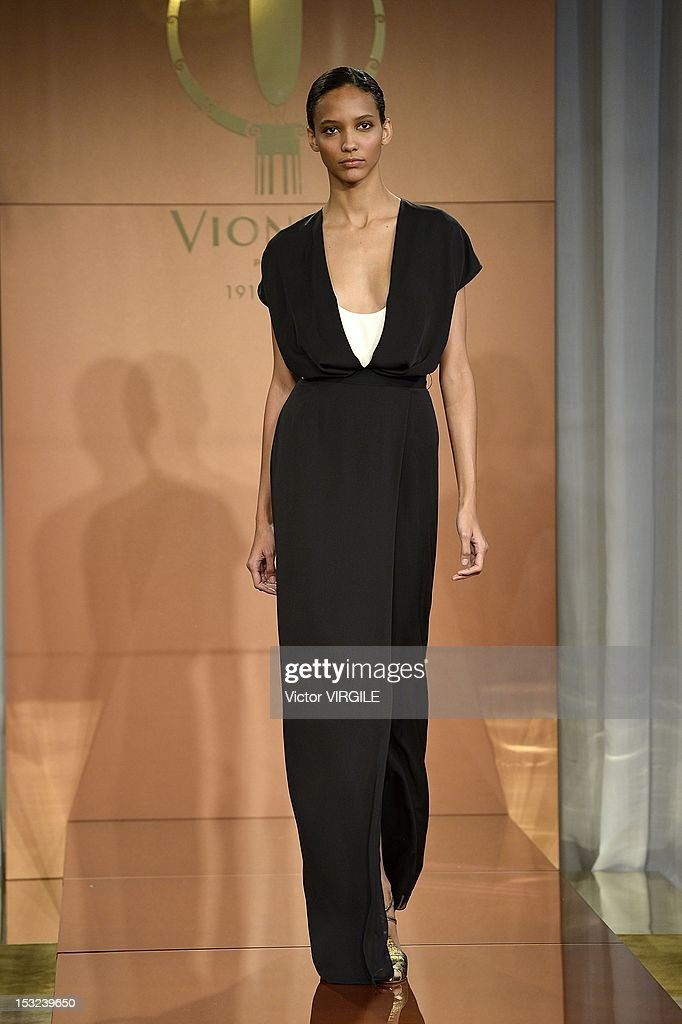 Model Cora Emmanuel walks the runway during the Vionnet Spring / Summer 2013 show as part of Paris Fashion Week at on September 27 2012 in Paris...