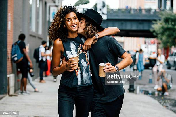 Model couple Imaan Hammam and Naleye Junior outside Blue Bottle Coffee at Milk Studios on September 12 2015 in New York City