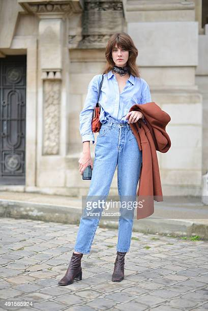 Model Cris Herrmann poses after the Chanel show at the Grand Palais during Paris Fashion Week SS16 on October 6 2015 in Paris France