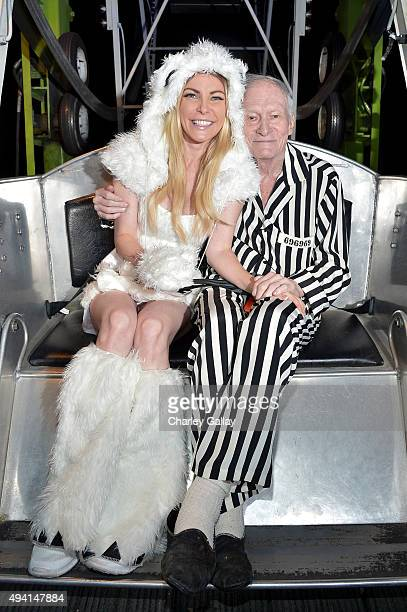 Model Crystal Hefner and Hugh Hefner attend the annual Halloween Party hosted by Playboy and Hugh Hefner at the Playboy Mansion on October 24 2015 in...