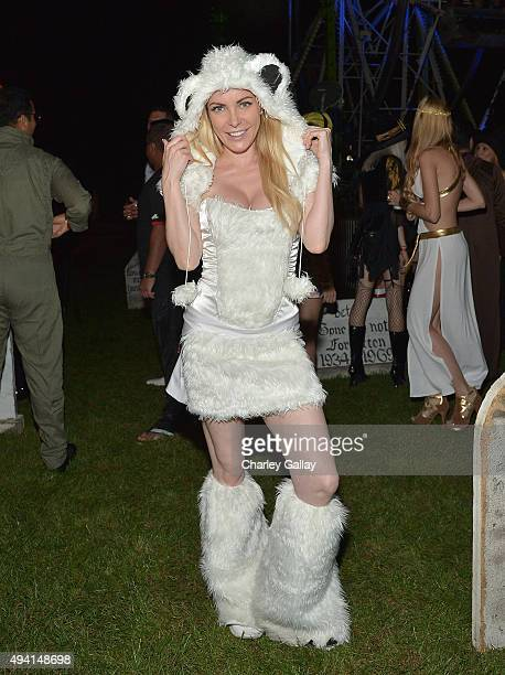 Model Crystal Hefner attends the annual Halloween Party hosted by Playboy and Hugh Hefner at the Playboy Mansion on October 24 2015 in Los Angeles...