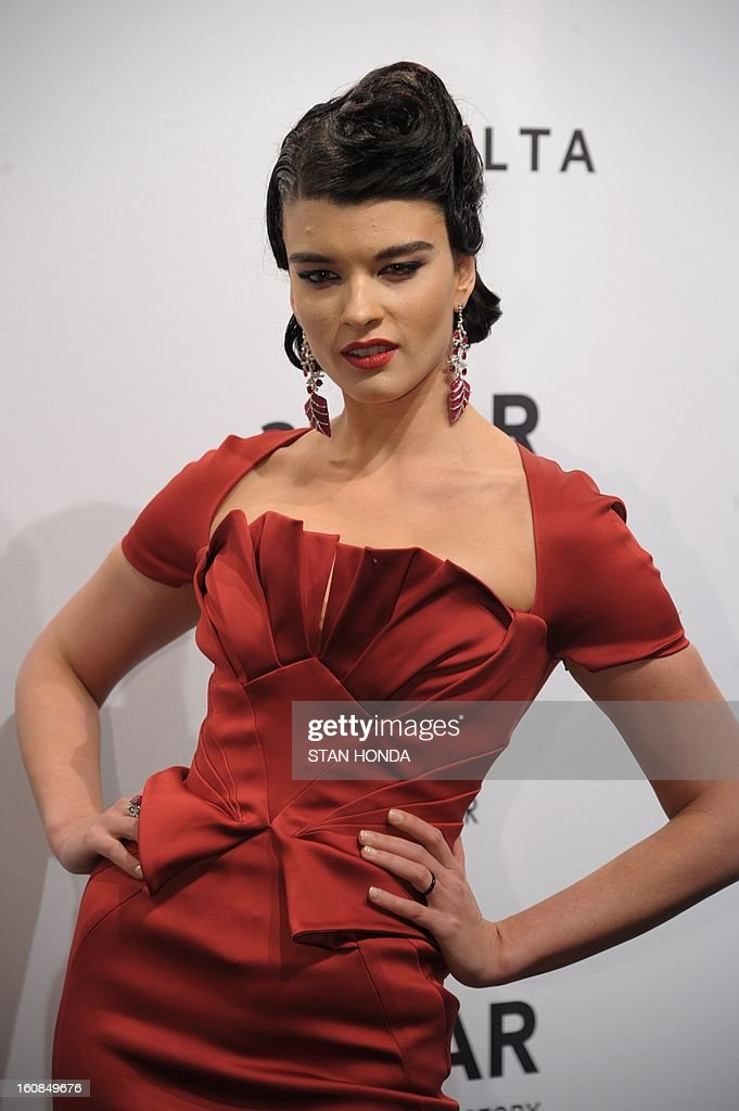 Model Crystal Renn wears a Zac Posen outfit at the amfAR (The Foundation for AIDS Research) gala that kicks off the Mercedes-Benz Fashion Week February 6, 2013 in New York. AFP PHOTO/Stan HONDA