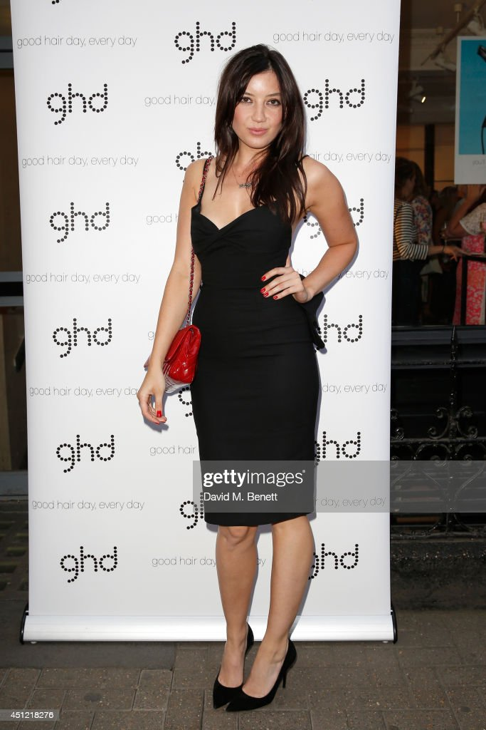 Model Daisy Lowe attends ghd's exhibition of iconic beauty must-haves to celebrate the launch of ghd aura, a ground-breaking drying and styling tool on June 25, 2014 in London, England.