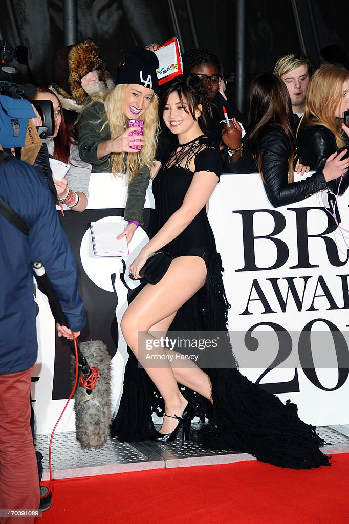 Model Daisy Lowe poses with fans as she attends The BRIT Awards 2014 at 02 Arena on February 19, 2014 in London, England.