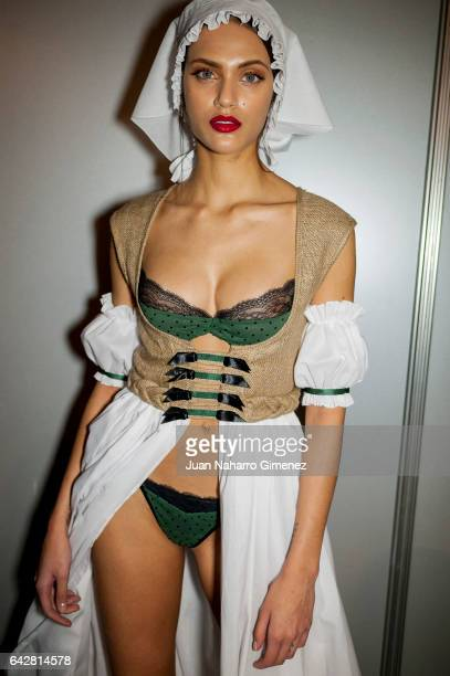 Model Dalianah Arekion is seen backstage before the Andres Sarda fashion show during the MercedesBenz Fashion Week Madrid Autumn/ Winter 2017 at...