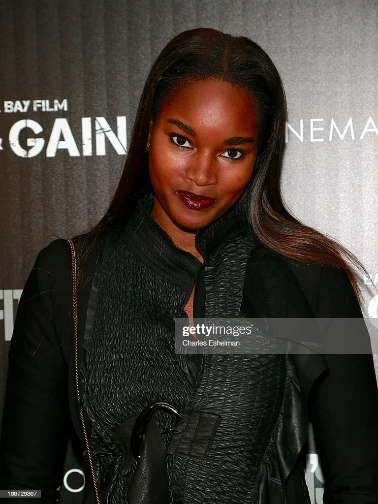 Model Damaris Lewis attends The Cinema Society and Men's Fitness screening of 'Pain and Gain' at the Crosby Street Hotel on April 15, 2013 in New York City.