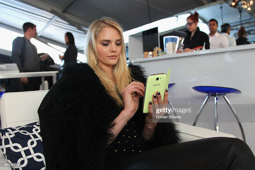 Model Dani Seitz attends the VIP reception for Herve Leger by Max Azria hosted by Samsung Galaxy Lounge at Mercedes-Benz Fashion Week Fall 2013 Collections at Lincoln Center on February 9, 2013 in New York City.