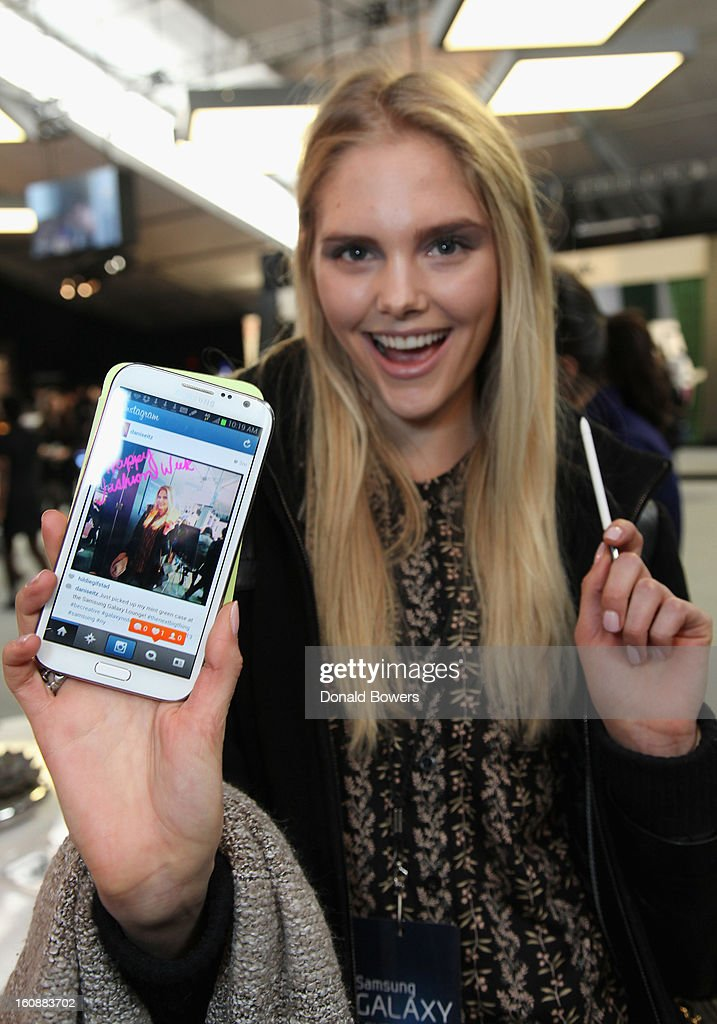 Model Dani Seitz attends the VIP reception ForBCBGMAXAZRIA hosted by Samsung Galaxy Lounge during Mercedes-Benz Fashion Week Fall 2013 Collections at Lincoln Center on February 7, 2013 in New York City.