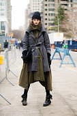 Model Daniela Aciu wears a Nicholas K jacket at Lincoln Center on Feburary 14 2015 in New York City