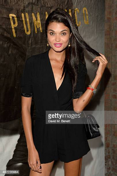 Model Daniela Braga attends the PUMA x McQ debut AW14 collection launch at Factory 7 on July 16 2014 in London England