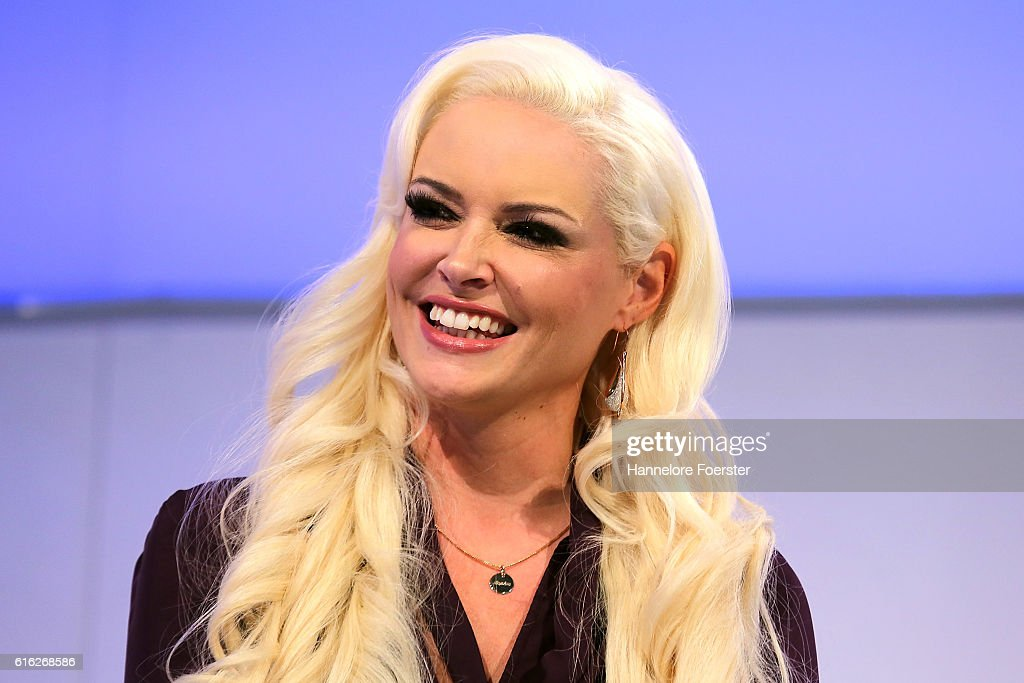 Model Daniela Katzenberger during an interview with Marko Schreyl at the ARD stage at the 2016 Frankfurt Book Fair (Frankfurter Buchmesse) on October 22, 2016 in Frankfurt am Main, Germany. The 2016 fair, which is among the world's largest book fairs, will be open to the public from October 19-23.
