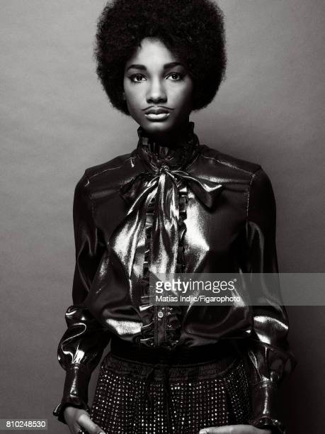 Model poses as Prince at a fashion shoot for Madame Figaro on May 10 2017 in Paris France Blouse pants PUBLISHED IMAGE CREDIT MUST READ Matias...