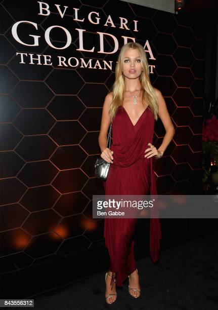 Model Daphne Groeneveld attends the Bulgari launch of new fragrance 'Goldea The Roman Night' on September 6 2017 in the Brooklyn borough of New York...