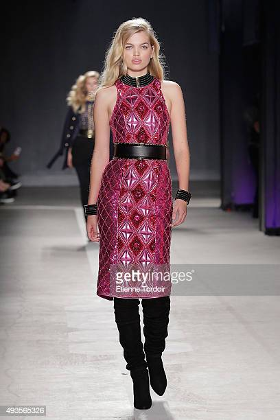 Model Daphne Groeneveld walks the runway wearing BALMAIN X HM collection during the launch event at 23 Wall Street on October 20 2015 in New York City