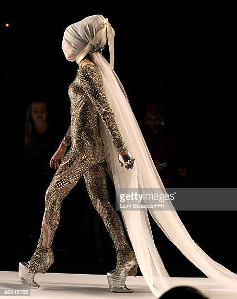 Model Daphne Guinness walks the runway at Naomi Campbell's Fashion For Relief Haiti NYC 2010 Fashion Show during MercedesBenz Fashion Week at The...