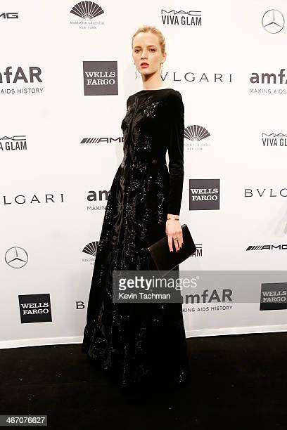 Model Daria Strokous attends the 2014 amfAR New York Gala at Cipriani Wall Street on February 5 2014 in New York City
