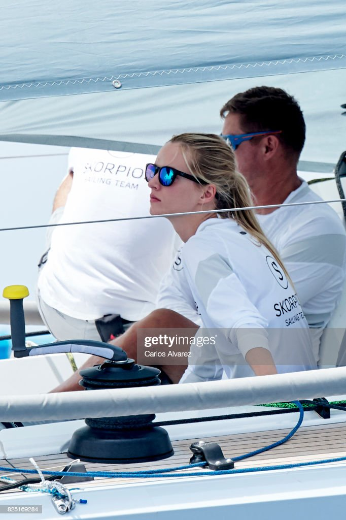 Model Daria Strokous is seen on board of Skorpios during the 36th Copa Del Rey Mafre Sailing Cup on August 1, 2017 in Palma de Mallorca, Spain.