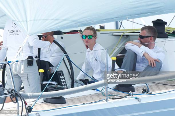 Model Daria Strokous is seen on board of Skorpios during the 36th Copa Del Rey Mafre Sailing Cup on August 1 2017 in Palma de Mallorca Spain