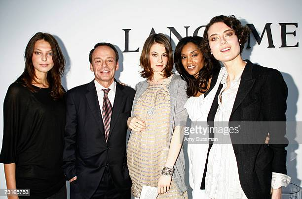 Model Daria Werbowy Eric Lauzat President of Lancome model Elettra Rossellini Wiedemann model Selena Breed and model Shalom Harlow attend the launch...