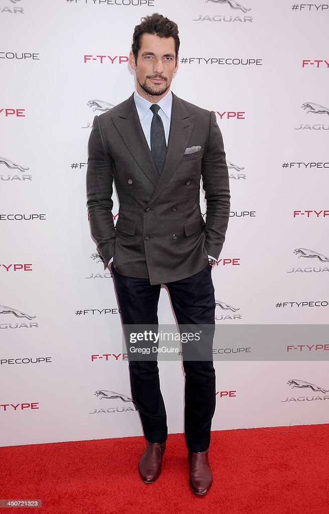 Model David Gandy arrives at the Jaguar F-TYPE Coupe launch party at Raleigh Studios on November 19, 2013 in Playa Vista, California.