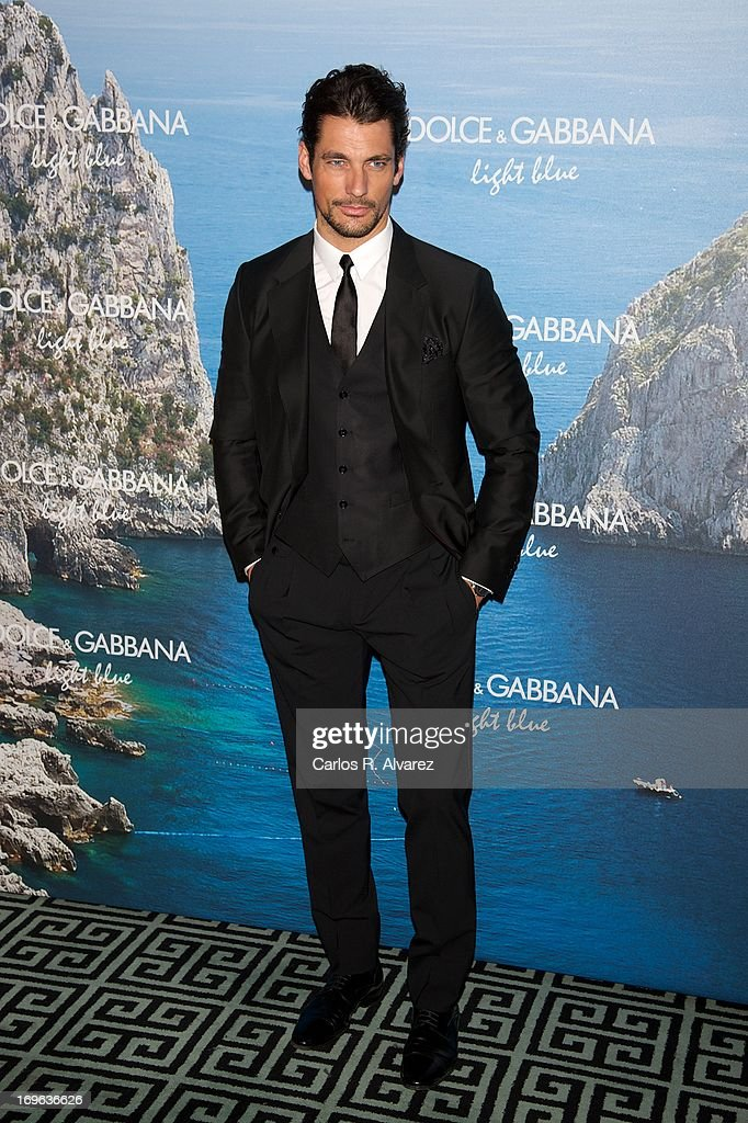 Model <a gi-track='captionPersonalityLinkClicked' href=/galleries/search?phrase=David+Gandy&family=editorial&specificpeople=4377663 ng-click='$event.stopPropagation()'>David Gandy</a> attends Mediterranean Summer Cocktail By Dolce & Gabbana at the Santo Mauro Hotel on May 29, 2013 in Madrid, Spain.