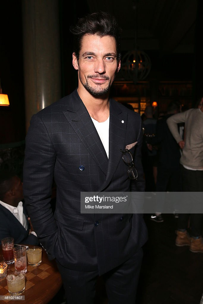 Model David Gandy poses at the Esquire Party during the London Collections Men AW14 at Rosewood London on January 6 2014 in London England