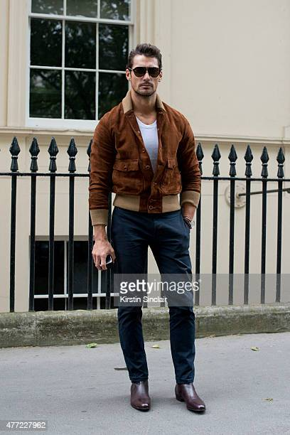 Model David Gandy wears a Club Monaco jacket on day 3 of London Collections Men on June 14 2015 in London England