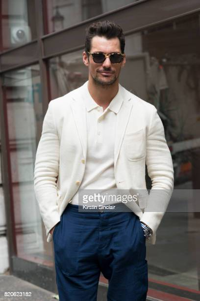 Model David Gandy wears Finlay and Co sunglasses Ralph lauren jacket A days March polo shirt Oliver Spencer trousers on day 3 of London Collections...
