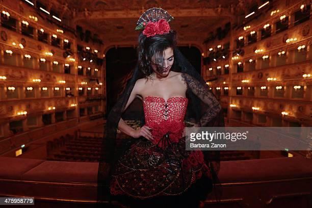 Model Decimaria Viana seen during the Gran Ballo della Cavalchina at La Fenice Theatre on March 1 2014 in Venice Italy