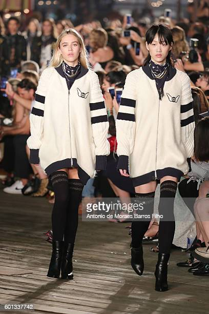 Model Delilah Hamlin walks the runway at Tommy Hilfiger Women's show during New York Fashion Week at Pier 19 on September 9 2016 in New York City
