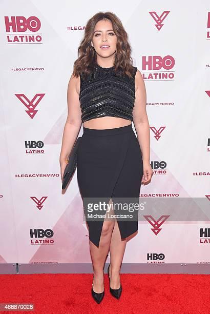 Model Denise Bidot attends the HBO Latino red carpet premiere of the 'Camino Al Concierto and Legacy De Lider a Leyenda' at Center 548 on April 7...
