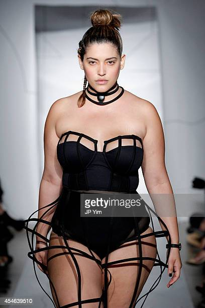 Model Denise Bidot walks the runway at the Chromat SS15 Formula 15 fashion show at The Standard Hotel on September 4 2014 in New York City