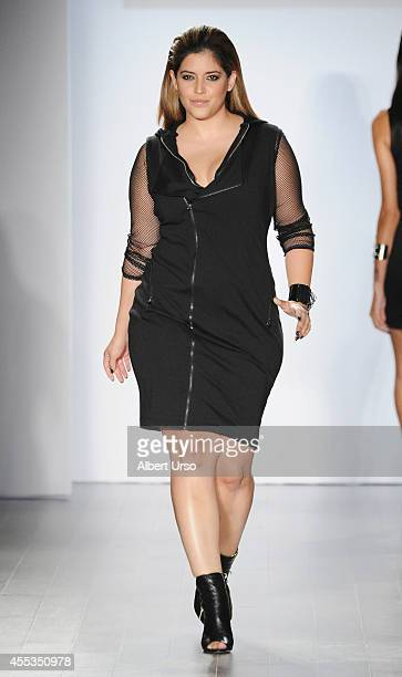 Model Denise Bidot walks the runway at the Serena Williams Signature Statement by HSN fashion show during MercedesBenz Fashion Week Spring 2015 at...