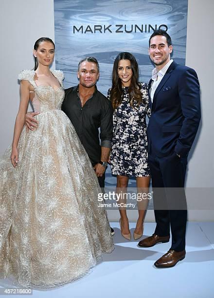 Model designer Mark Zunino television personalities Andi Dorfman and Josh Murray attend front row at The Mark Zunino For Kleinfeld 2015 Runway Show...