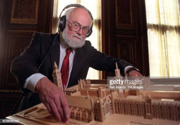 Model designer Peter Howell examines a new tactile 3D model of the Palace of Westminster designed specially for blind and partially sighted visitors...