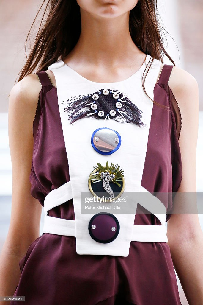 A model, detail, walks the runway at the Dorothee Schumacher show during the Mercedes-Benz Fashion Week Berlin Spring/Summer 2017 at Elisabethkirche on June 29, 2016 in Berlin, Germany.
