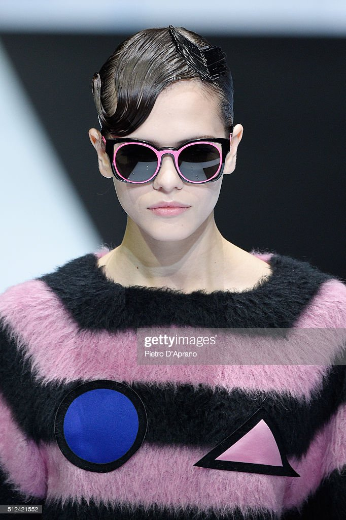 A model detail walks the runway at the Emporio Armani show during Milan Fashion Week Fall/Winter 2016/17 on February 26 2016 in Milan Italy