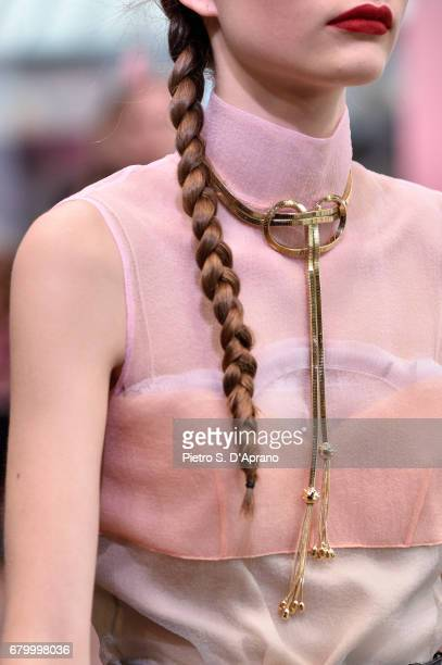 A model detail walks the runway at the Prada Resort Collection 2018 show at Osservatorio Prada on May 7 2017 in Milan Italy