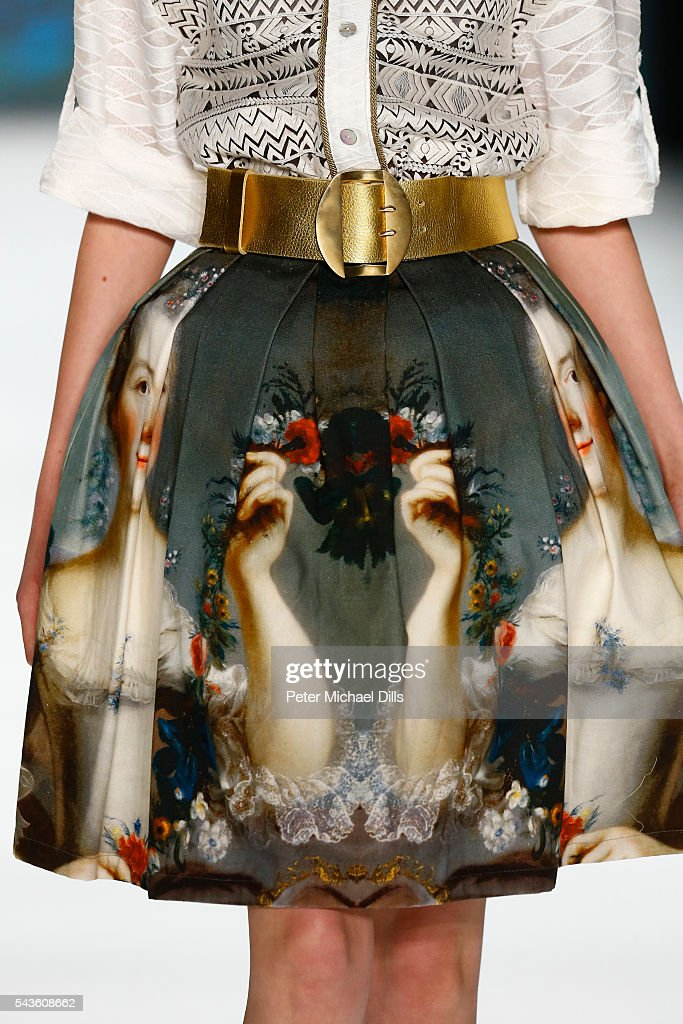 A model, detail, walks the runway at the Rebekka Ruetz show during the Mercedes-Benz Fashion Week Berlin Spring/Summer 2017 at Erika Hess Eisstadion on June 29, 2016 in Berlin, Germany.