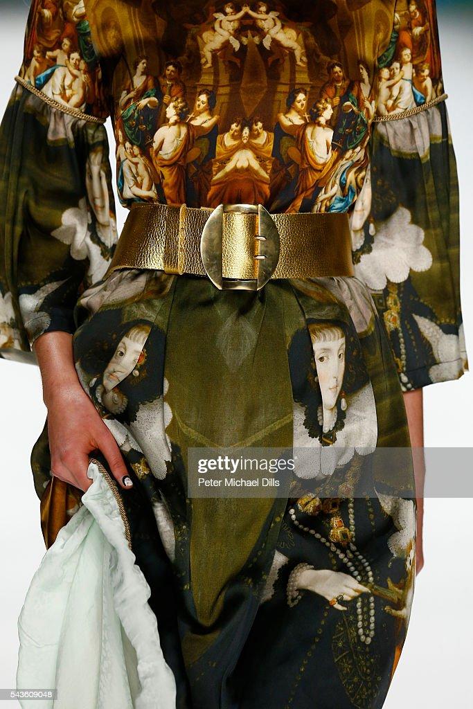 A model, detail, walks the runway at the Rebekka Ruetz show during the Mercedes-Benz Fashion Week Berlin Spring/Summer 2017 at Erika Hess Eisstadion on June 29, 2016 in Berlin, Germany.