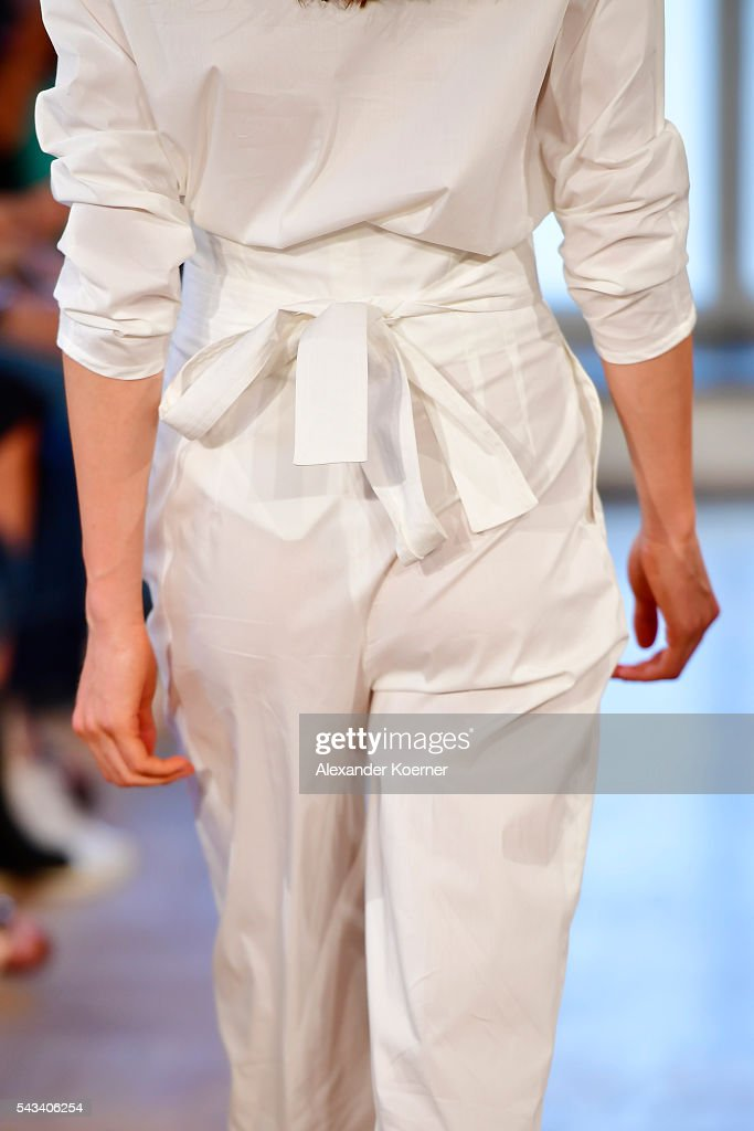 A model, detail, walks the runway at the Rene Storck show during the Mercedes-Benz Fashion Week Berlin Spring/Summer 2017 at Kronprinzenpalais on June 28, 2016 in Berlin, Germany.