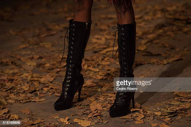 A model detail walks the runway during the Amato show at Fashion Forward Fall/Winter 2016 held at the Dubai Design District on April 2 2016 in Dubai...