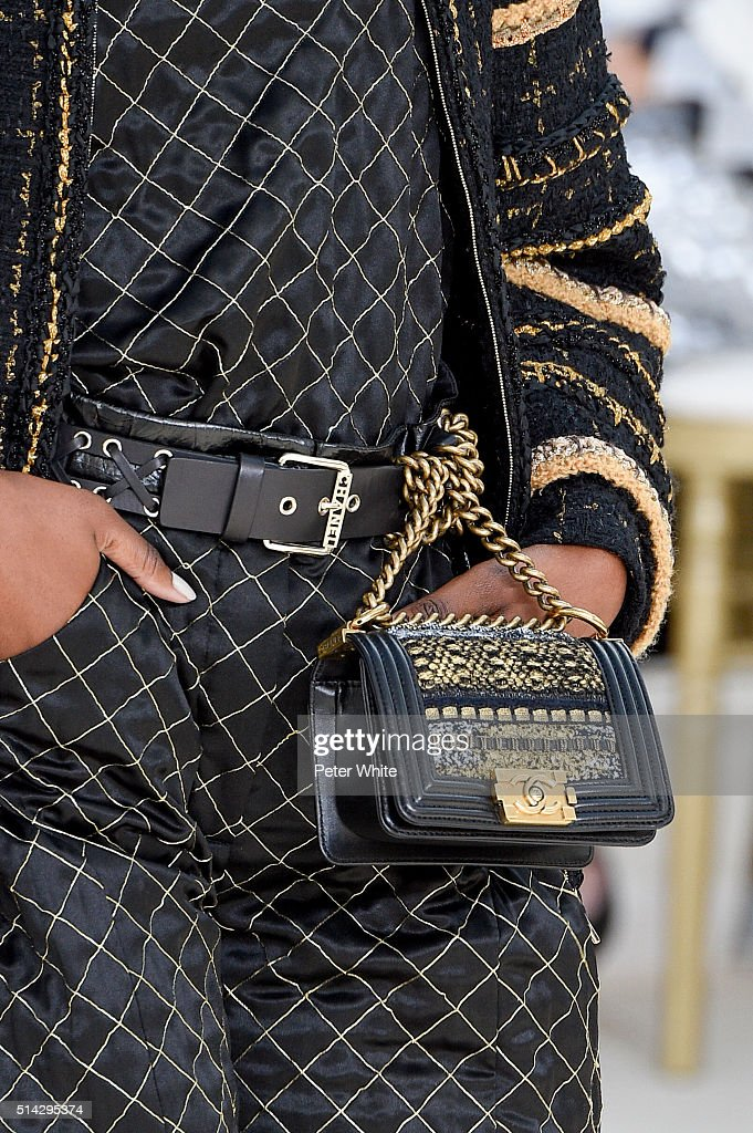 A model detail walks the runway during the Chanel show as part of the Paris Fashion Week Womenswear Fall/Winter 2016/2017 on March 8 2016 in Paris...