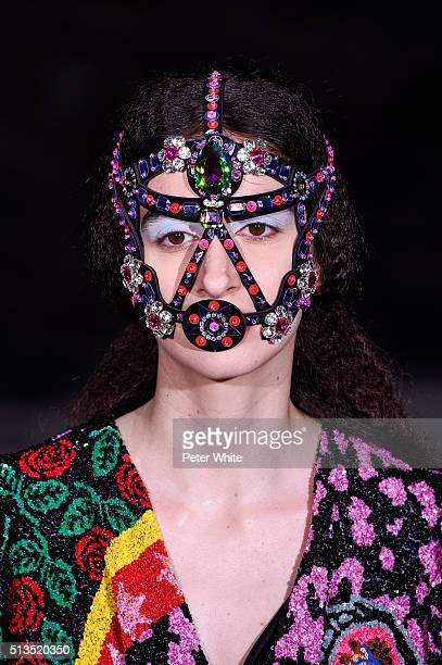 A model detail walks the runway during the Manish Arora show as part of the Paris Fashion Week Womenswear Fall/Winter 2016/2017 on March 3 2016 in...